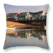 Sailboats And Harbor Waterfront Reflections Throw Pillow