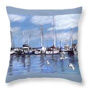 Sailboats And Seagulls Throw Pillow