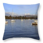 Sailboats At Anchor In Bowness On Windermere Throw Pillow