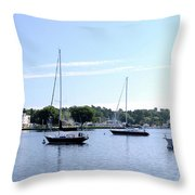 Sailboats In Bay Throw Pillow