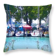 Sailboats In Dock Throw Pillow