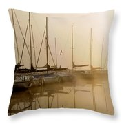 Sailboats In Golden Fog Throw Pillow