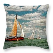 Sailboats In The Netherlands By The Zuiderzee Throw Pillow