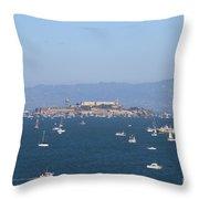 Sailboats In The San Francisco Bay Overlooking Alcatraz . 7d7862 Throw Pillow