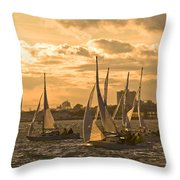 Sailboats On Lake Ontario At Sunset Throw Pillow