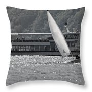 Sailing Boat And Passenger Boat Throw Pillow