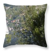 Sailing Boat And Trees Throw Pillow