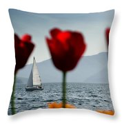 Sailing Boat And Tulip Throw Pillow