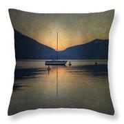 Sailing Boat At Night Throw Pillow