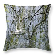 Sailing Boat Behind Tree Branches Throw Pillow
