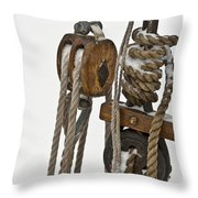 Sailing Boat Detail With Snow Throw Pillow