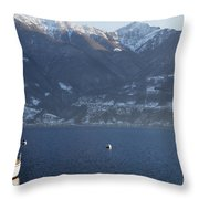 Sailing Boat On A Lake Throw Pillow