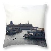 Sailing Boats And A Large Yacht In The Harbour At Sharm El Sheikh Throw Pillow