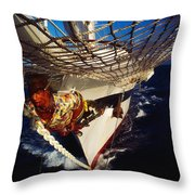 Sailing, Figurehead On The Prow Of A Throw Pillow