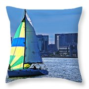 Sailing On Boston Harbor Throw Pillow