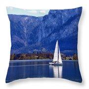 Sailing On Mondsee Lake Throw Pillow by Lauri Novak