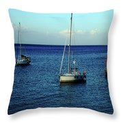 Sailing The Blue Waters Of Greece Throw Pillow
