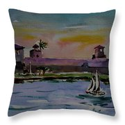 Sailing To The Spanish Fort Throw Pillow