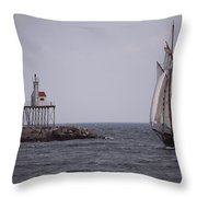 Sailing Vessel Entering Gloucester Throw Pillow