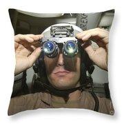 Sailor Adjusts His Anavs-9 Night Vision Throw Pillow