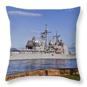 Sailors Aboard The Guided-missile Throw Pillow