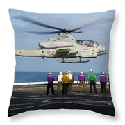 Sailors And Marines Watch An Ah-1z Throw Pillow