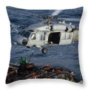 Sailors Attach Pallets Of Supplies Throw Pillow