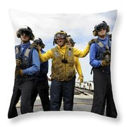 Sailors Fight A Simulated Fire Aboard Throw Pillow