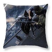 Sailors Fire A Dual-mounted M240 Throw Pillow
