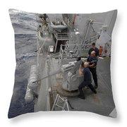 Sailors Fire A Mark 38 Machine Gun Throw Pillow