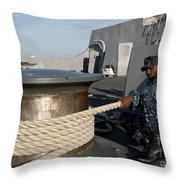 Sailors Handle Mooring Lines Aboard Uss Throw Pillow