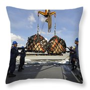 Sailors Help Guide A Pair Of Incoming Throw Pillow