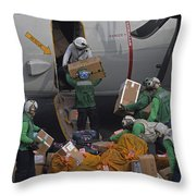 Sailors Load Mail On To A C-2a Throw Pillow