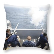 Sailors Perform A 21-gun Salute Aboard Throw Pillow by Stocktrek Images