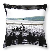 Sailors Play Football During A Swim Throw Pillow