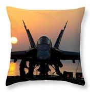 Sailors Prepare An Fa-18c Hornet Throw Pillow