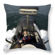 Sailors Stand Watch From The Bridge Throw Pillow