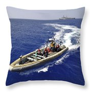 Sailors Transit An Inflatable Boat Throw Pillow