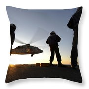 Sailors Watch A Helicopter Lift Throw Pillow