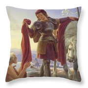 Saint Martin And The Beggar Throw Pillow