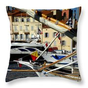 Saint Tropez Harbor Throw Pillow