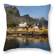 Sakrisoy Fishermen's Village Throw Pillow
