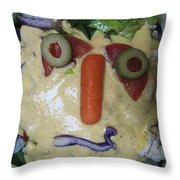 Salad Man Is Confused Throw Pillow