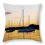 Salem Harbor Amber Sunset Throw Pillow