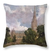 Salisbury Cathedral From The South West Throw Pillow