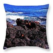 Sally Lightfoot Crabs On Basalt Throw Pillow
