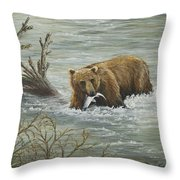 Salmon For Lunch Throw Pillow