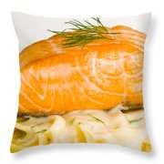 Salmon Steak On Pasta Decorated With Dill Closeup Throw Pillow