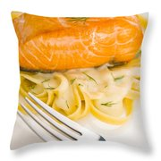 Salmon Steak On Pasta Decorated With Dill Throw Pillow