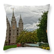 Salt Lake City Temple Grounds Throw Pillow